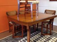1950's dining table 6 chairs and 1 leaf. Good vintage
