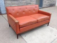 ORANGE vinyl Loveseat by SIMMONS. WONDERFUL! Mid