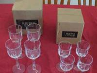 For sale is a set of Mikasa Seville goblets. There are