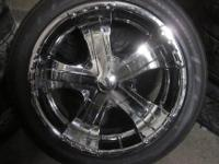 MILANNI 20 INCH 5 LUG BLACK AND CHROME RIMS & TIRES 5