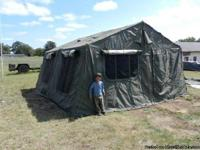 Military tent 16 by 16 never used in crate with frame.