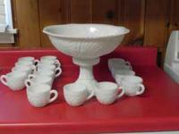 Pedestal Punch Bowl (Milk Glass) with 16 cups, $75,