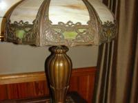 Miller Heavy Cast and Slag Glass Lamp Circa 1920.