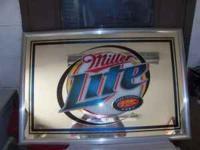 Miller Lite Bar/ Man Cave mirror. 38 X 26 like new