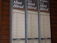 "3 Vinyl Mini Blinds, 1"" large, measures 70 inches large"