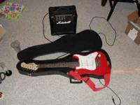 Nice mini Fender Squire guitar with marshall amp and