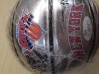 MINI NY KNICKS BASKETBALL SIGNED WITH JSA STICKER HAS 9