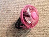 Mini fan for sale. It's pink. Great for a dorm room or