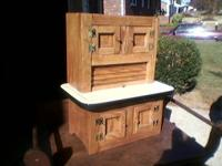 "Handcrafted ""one of a kind"" miniature oak hoosier"
