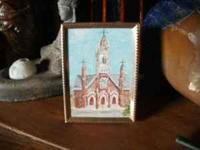 Miniature oil painting of St. Marys in Virginia City by
