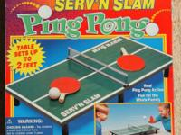 SERV'N SLAM MINI TABLE TENNIS SET Small enough to take