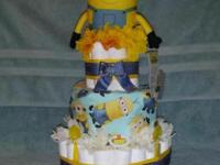 This is a 3-Tier Minions Diaper Cake. It has over 60