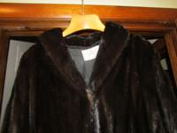 Full length Ranch Mink coat. Chocolate brown. Mint