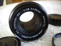 Fresh a Minolta Rokkor PF 1.9 55mm Lens. Has a MD mount