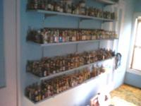 Imported and domestic bottles collected over 50 years.
