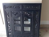 Large Wall Mirror with Carved Detailing / Shutters on