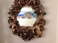 Antique large mirror Angels surround gold inlay mirror