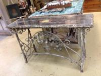 "Mirrored Table with Metal Base New 56"" Wide x 17"" Deep"
