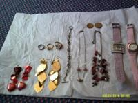 Misc. jewelry- (2) necklaces (2) pr. earrings (2)