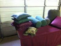 antique quilt $50.00.   4 square Pillows [green and