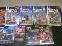 4 Star Wars figures, 4 hot wheels, and a Jesse James