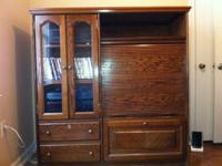 Solid Wood entertainment center $100 Wildlife picture