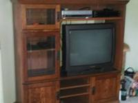 Solid wood Mission style home entertainment center. 2