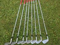 3-pw with stiff shafts and golf pride grips. Less than