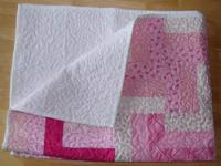 35x46 Moda Quilt - Pink Breast cancer Ribbons. New