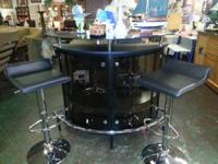 Modern black, glass and chrome bar set, with two bar