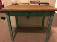 Solid wood distressed desk with one small drawer. 30