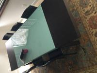Beautiful modern glass and wood dining table purchased