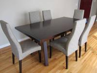 Beautiful dark cherry stained birch dining table with
