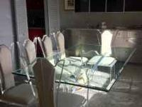Custom made glass top table with arcrylic stand and six