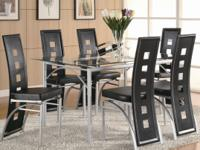 New 7 piece modern glass top dining set table + 6