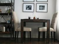 Handcrafted modern, square pub table for sale. It is