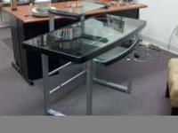 GLASS & METAL COMPUTER DESK--like new, great modern