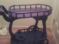 TEA CART WHIT SHELVES AND WHEELS DARK WOOD CARVED