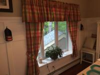 Moire Plaid Scalloped Pleated Valances in Rose. Paid