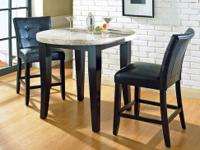 This Marble Top Monarch dining room table set comes
