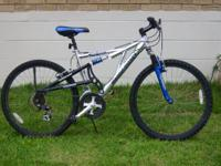 "Mongoose Mountain Bike, dual suspension, 26"" , 18 spd,"