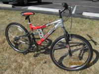 "MONGOOSE XR-75 FULL SUSPENSION it has 17"" frame(center"