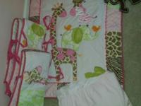 Offering crib bed linen set, consists of the comforter,