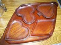 Vintage hand made wooden trays from Haiti -- 4 smaller