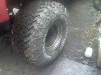 35-17.5-15 14 inch wide 8 lug rims. Tires are 80%. They