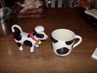 Moo Cow Large Coffee Cup and Creamer. The cup has a