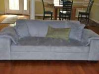 Large, modern microfiber blue grey couch, love seat and