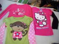 Long sleeve girls tops, sizes 5 & 6. Dark pink HELLO