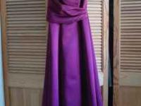 Strapless satin burgundy gown is size 9/10 but must