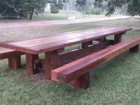 we build custom mortise and tenon cedar tables, these
